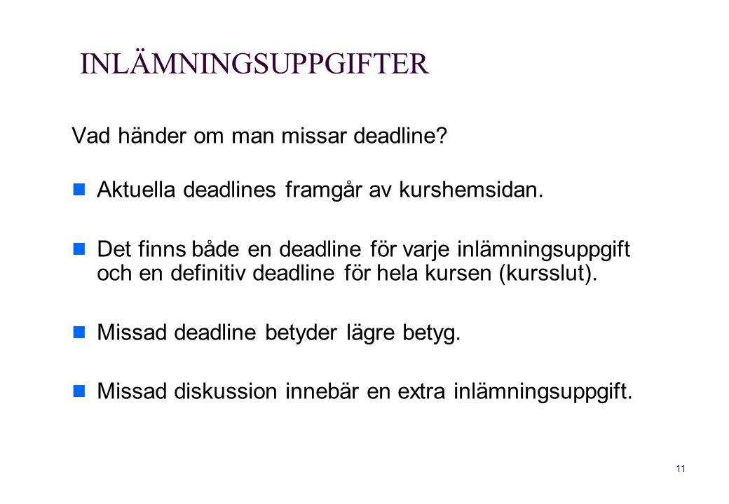 INLÄMNINGSUPPGIFTER Vad händer om man missar deadline