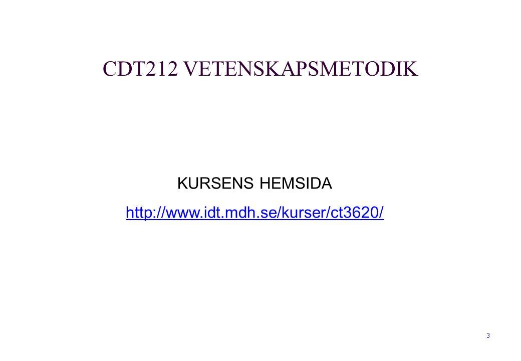 CDT212 VETENSKAPSMETODIK
