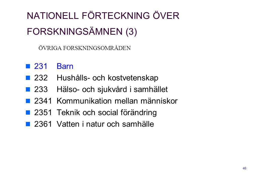 NATIONELL FÖRTECKNING ÖVER FORSKNINGSÄMNEN (3)