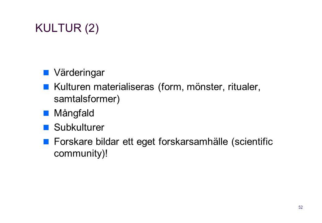 KULTUR (2) Värderingar. Kulturen materialiseras (form, mönster, ritualer, samtalsformer) Mångfald.