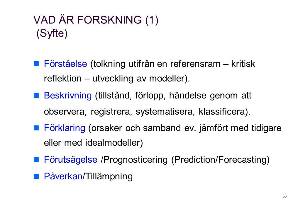 VAD ÄR FORSKNING (1) (Syfte)