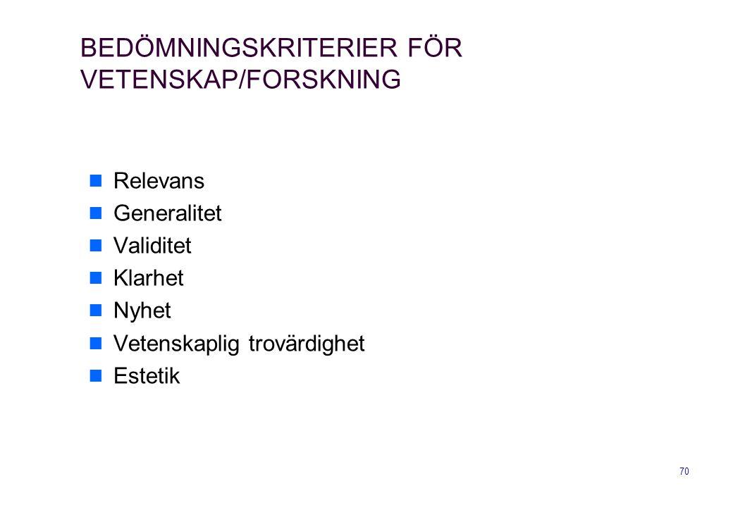 BEDÖMNINGSKRITERIER FÖR VETENSKAP/FORSKNING