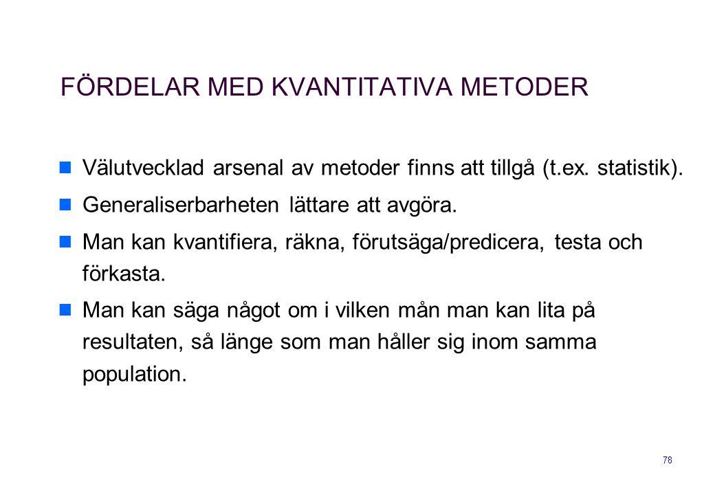 FÖRDELAR MED KVANTITATIVA METODER