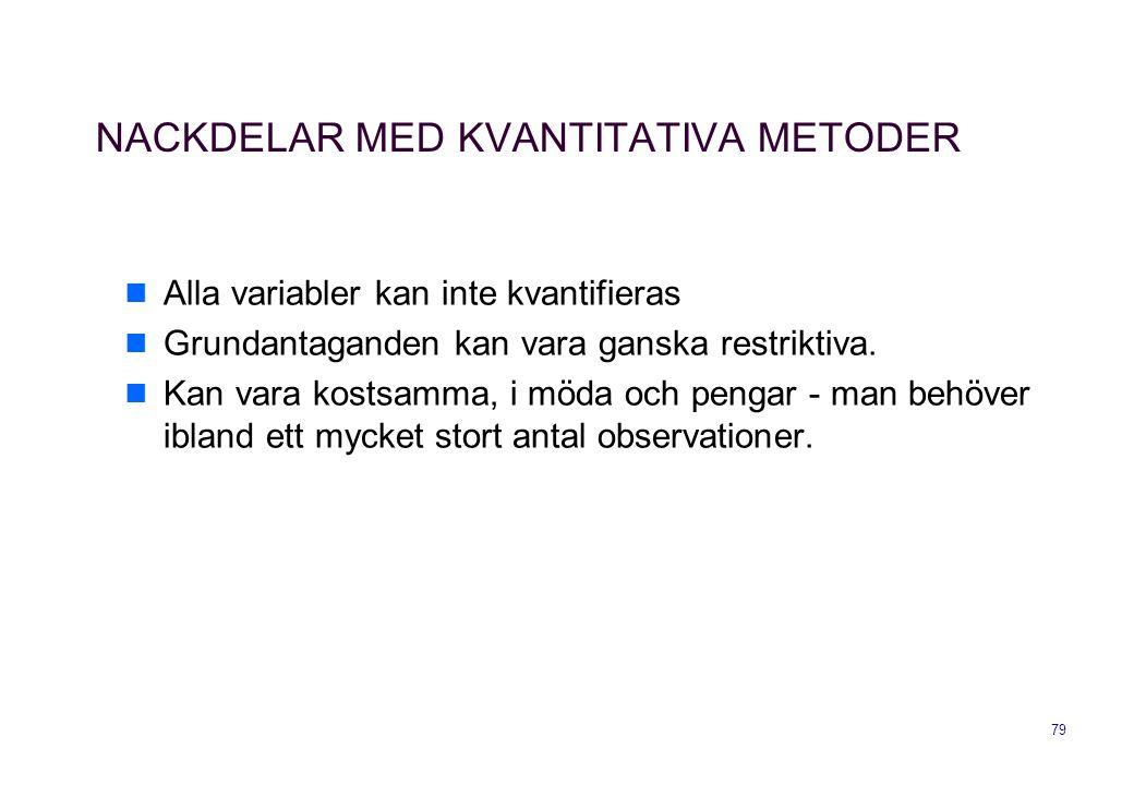 NACKDELAR MED KVANTITATIVA METODER