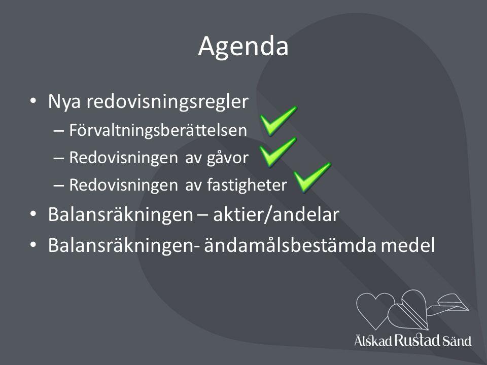 Agenda Nya redovisningsregler Balansräkningen – aktier/andelar