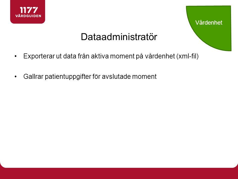 Vårdenhet Dataadministratör.