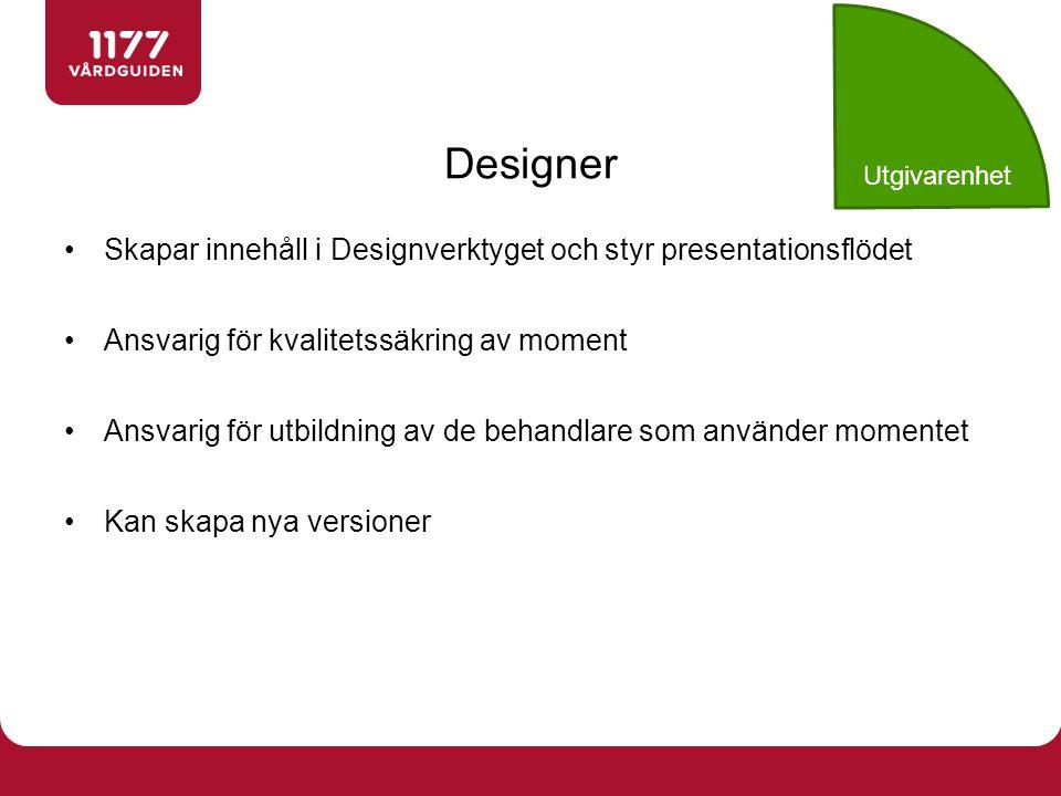 Utgivarenhet Designer. Skapar innehåll i Designverktyget och styr presentationsflödet. Ansvarig för kvalitetssäkring av moment.