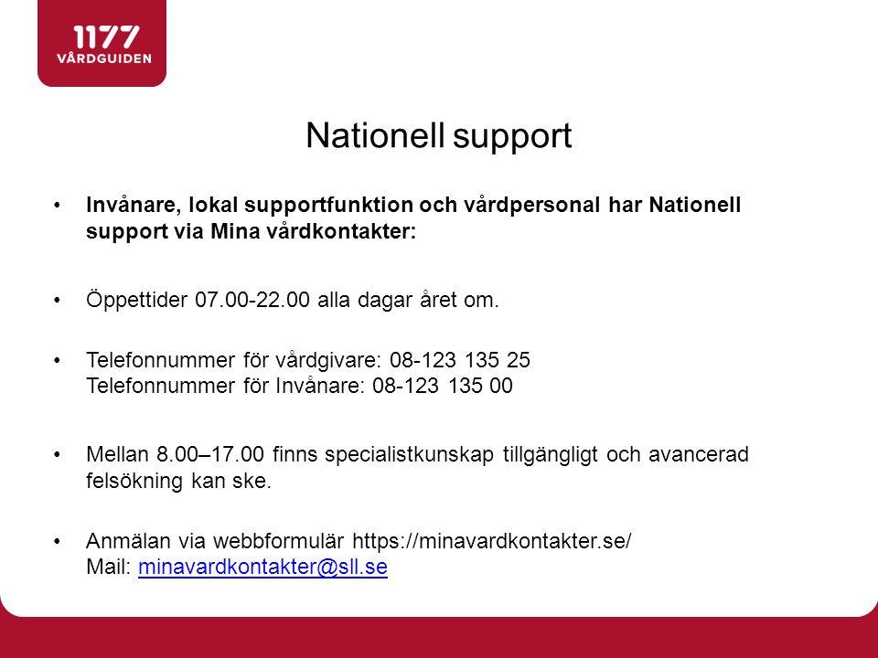 Nationell support Invånare, lokal supportfunktion och vårdpersonal har Nationell support via Mina vårdkontakter: