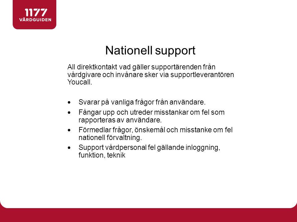 Nationell support All direktkontakt vad gäller supportärenden från vårdgivare och invånare sker via supportleverantören Youcall.