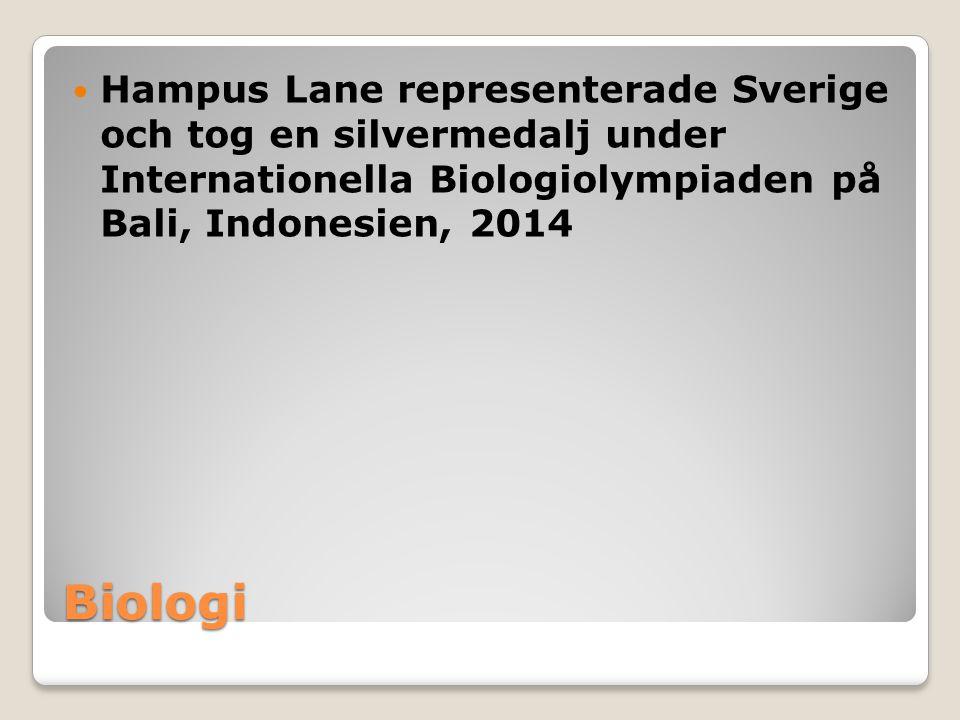 Hampus Lane representerade Sverige och tog en silvermedalj under Internationella Biologiolympiaden på Bali, Indonesien, 2014