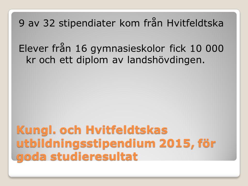 9 av 32 stipendiater kom från Hvitfeldtska Elever från 16 gymnasieskolor fick 10 000 kr och ett diplom av landshövdingen.