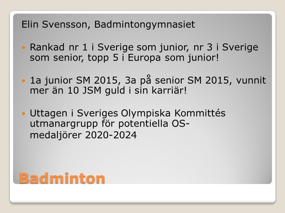 Badminton Elin Svensson, Badmintongymnasiet
