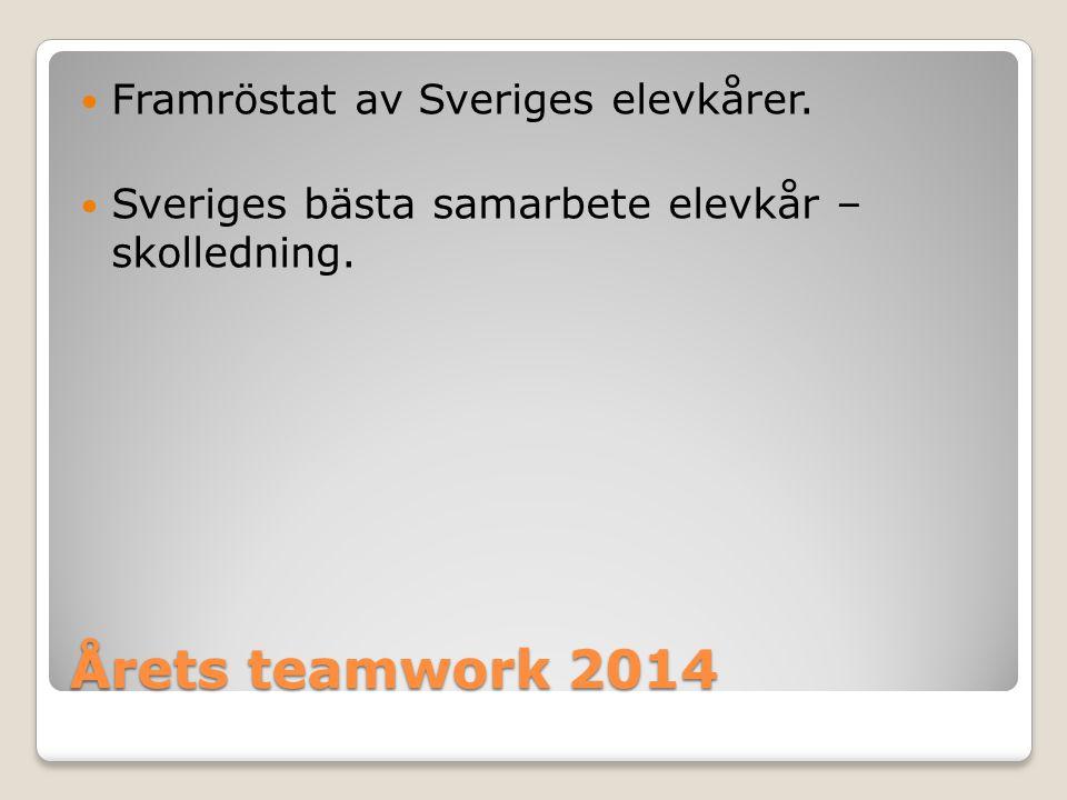 Årets teamwork 2014 Framröstat av Sveriges elevkårer.