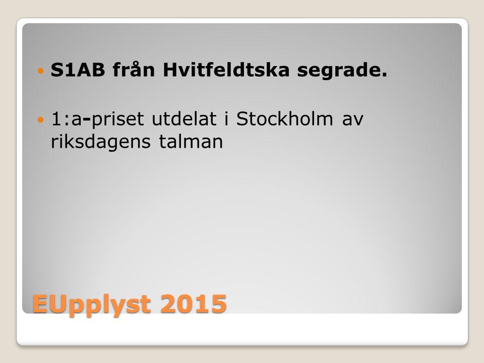 EUpplyst 2015 S1AB från Hvitfeldtska segrade.