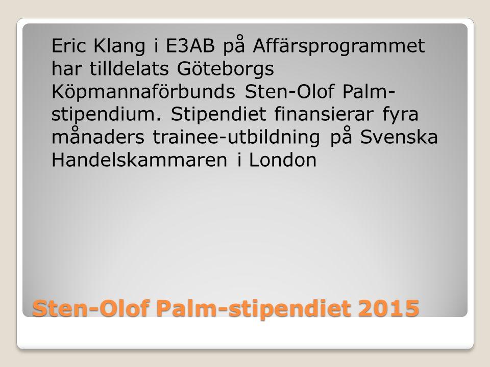Sten-Olof Palm-stipendiet 2015