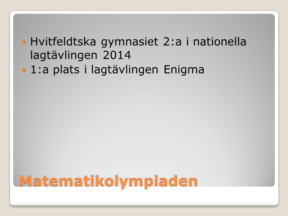 Hvitfeldtska gymnasiet 2:a i nationella lagtävlingen 2014