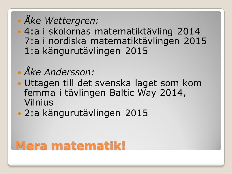 Mera matematik! Åke Wettergren: