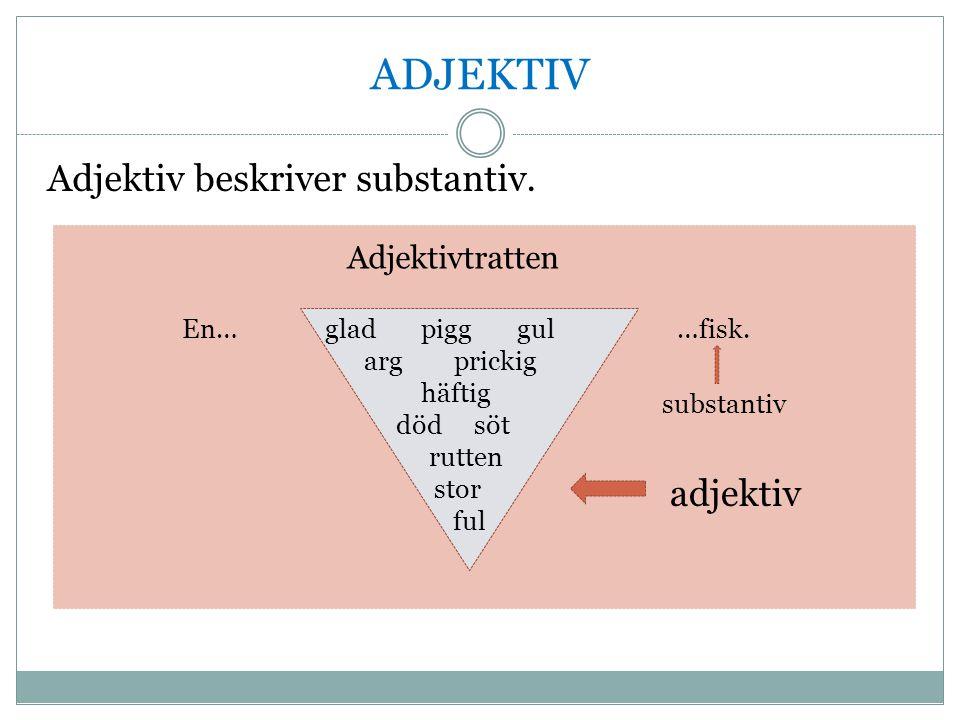 ADJEKTIV Adjektiv beskriver substantiv. adjektiv Adjektivtratten En…