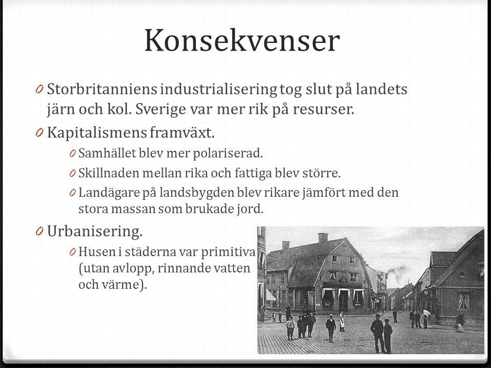 Konsekvenser Storbritanniens industrialisering tog slut på landets järn och kol. Sverige var mer rik på resurser.