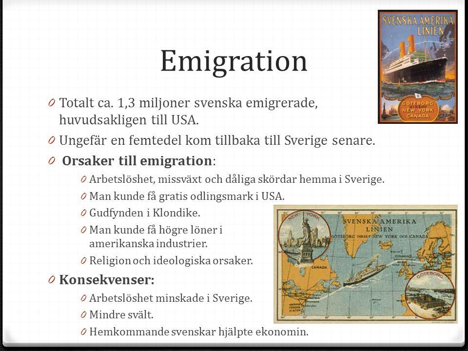 Emigration Totalt ca. 1,3 miljoner svenska emigrerade, huvudsakligen till USA. Ungefär en femtedel kom tillbaka till Sverige senare.