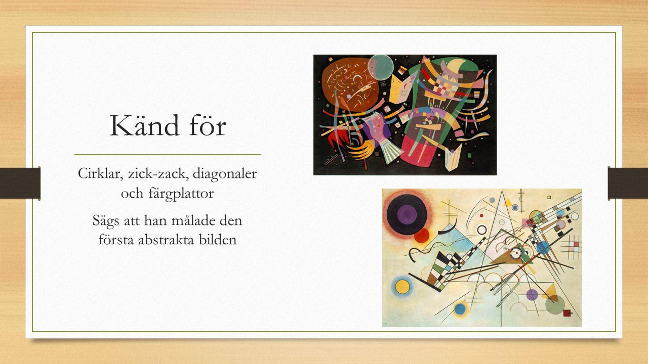 Känd för Cirklar, zick-zack, diagonaler och färgplattor