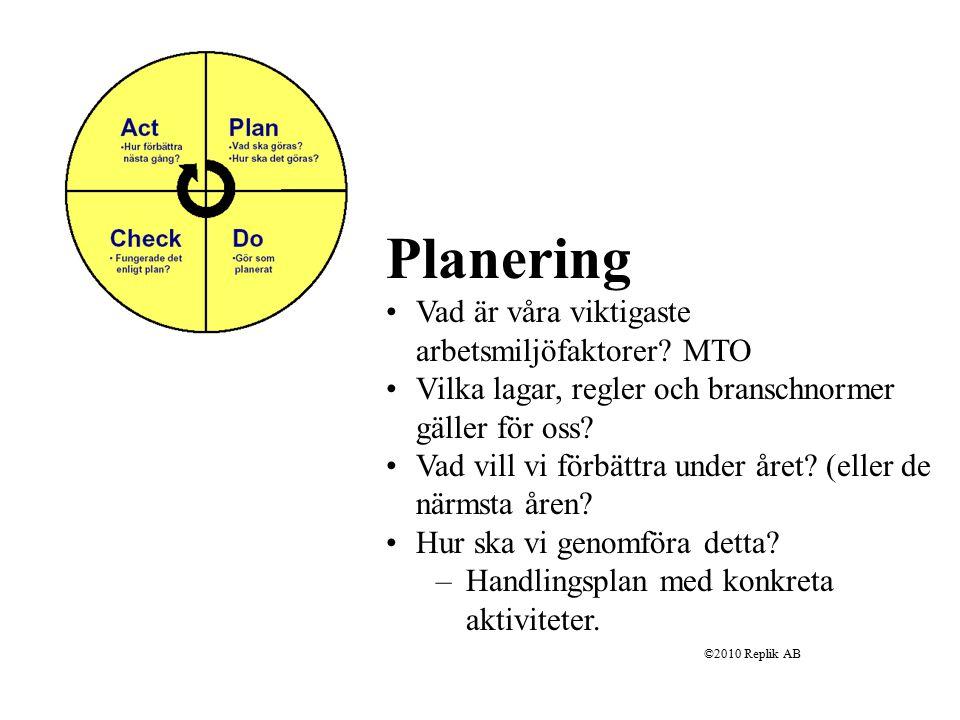 Planering Vad är våra viktigaste arbetsmiljöfaktorer MTO