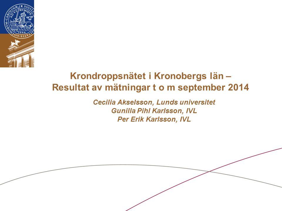 Cecilia Akselsson, Lunds universitet Gunilla Pihl Karlsson, IVL