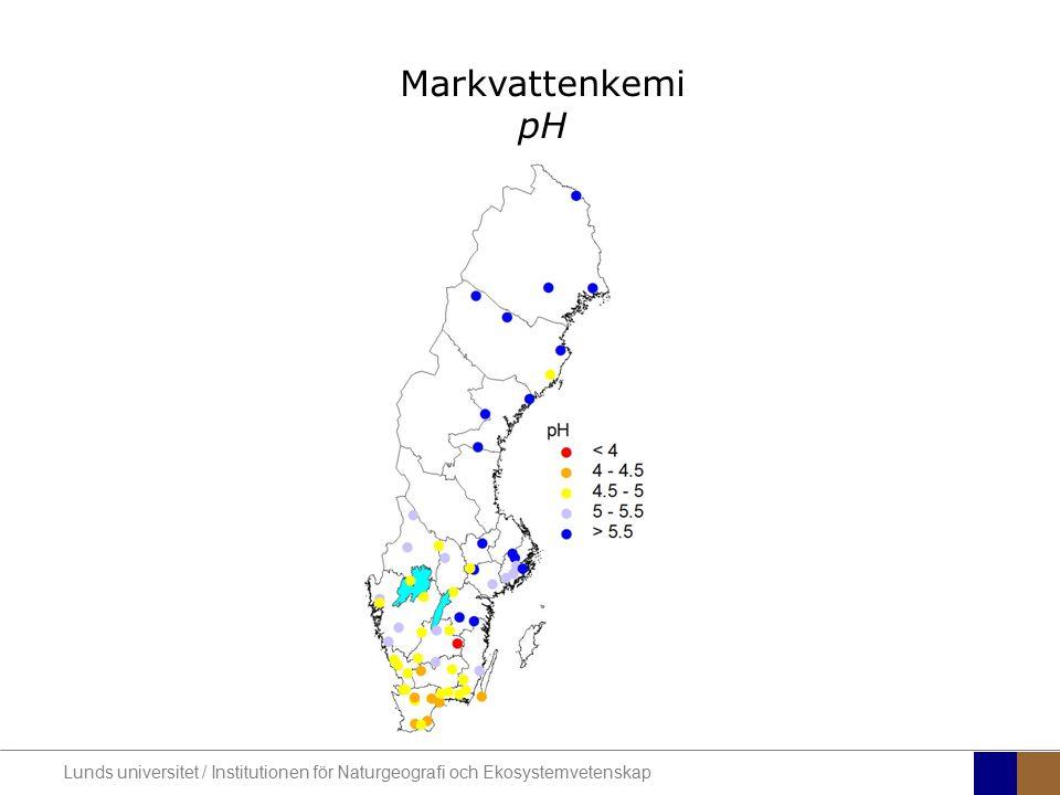 Markvattenkemi pH Lunds universitet / Institutionen för Naturgeografi och Ekosystemvetenskap