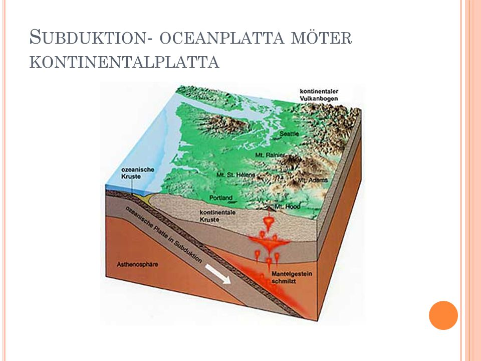 Subduktion- oceanplatta möter kontinentalplatta