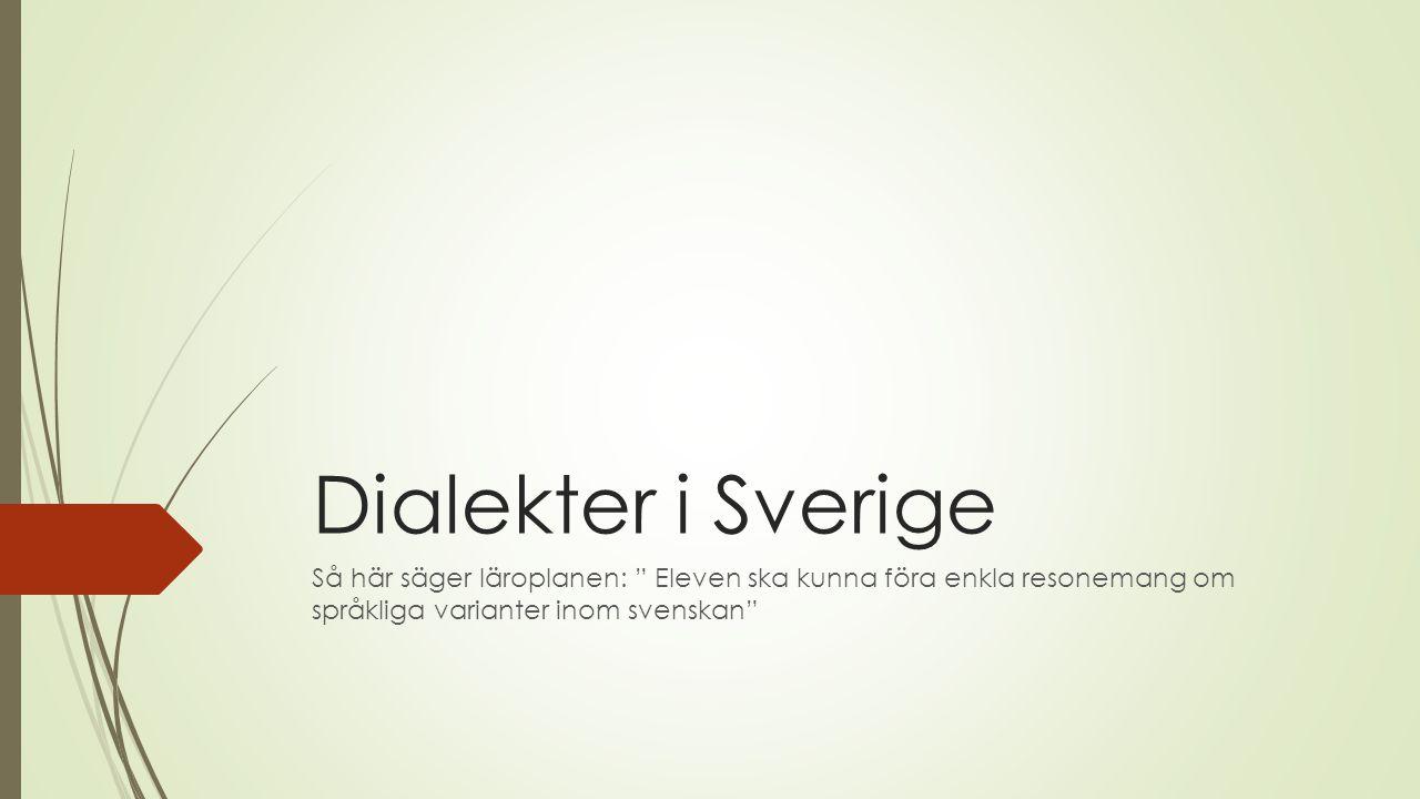Dialekter i Sverige Så här säger läroplanen: Eleven ska kunna föra enkla resonemang om språkliga varianter inom svenskan