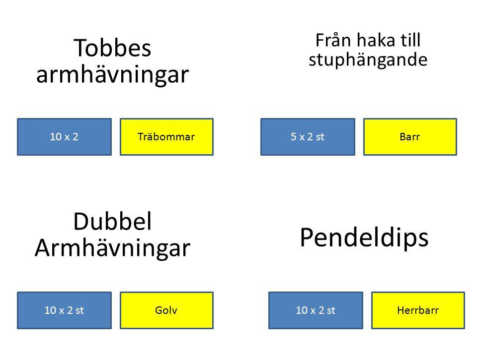 Pendeldips Tobbes armhävningar Dubbel Armhävningar Från haka till