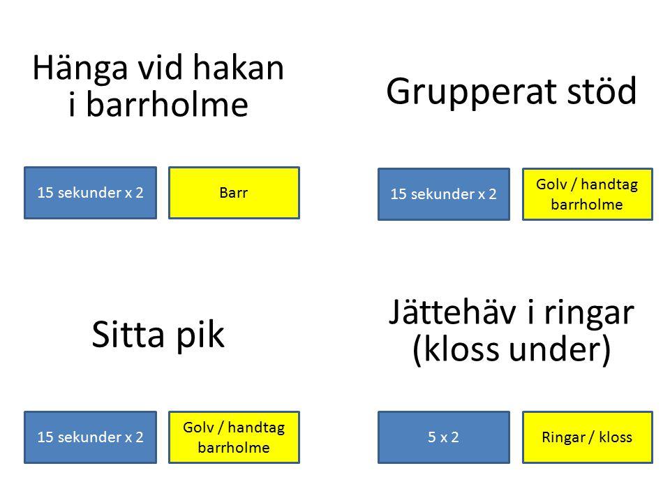 Grupperat stöd Sitta pik Hänga vid hakan i barrholme Jättehäv i ringar