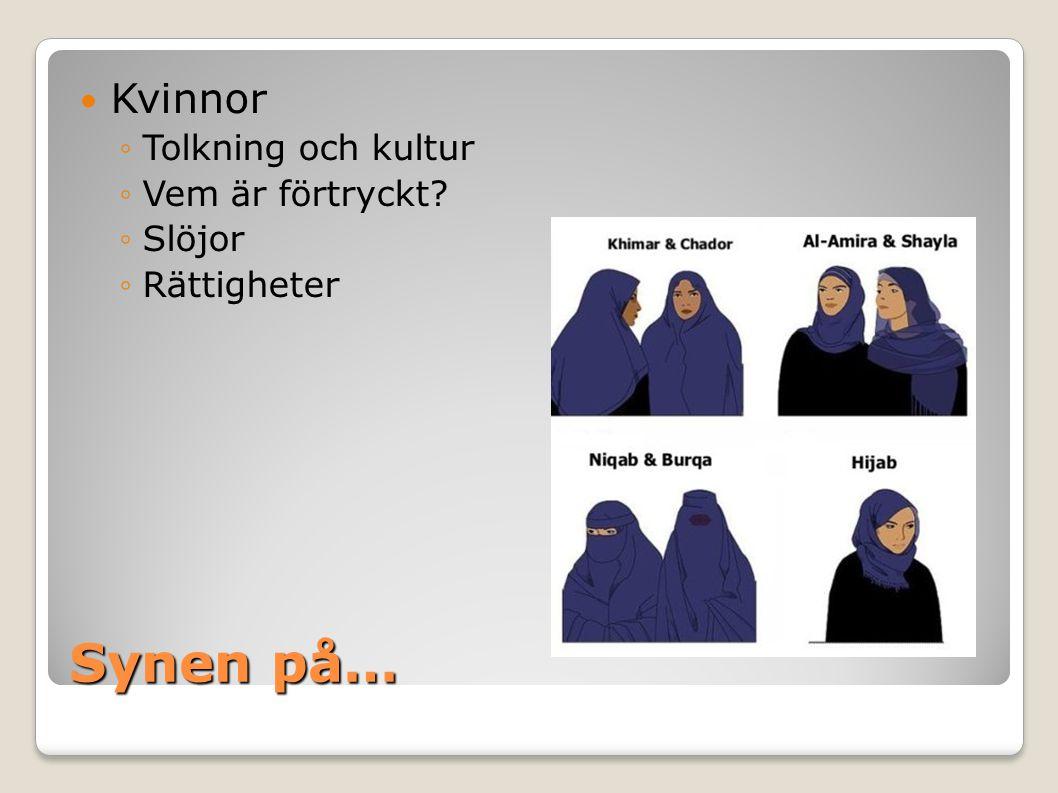 Synen på… Kvinnor Tolkning och kultur Vem är förtryckt Slöjor