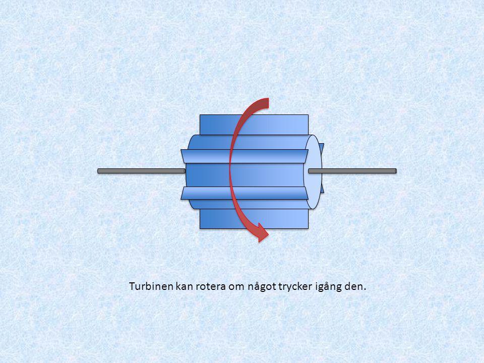 Turbinen kan rotera om något trycker igång den.