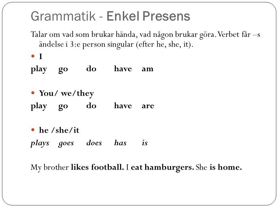 Grammatik - Enkel Presens