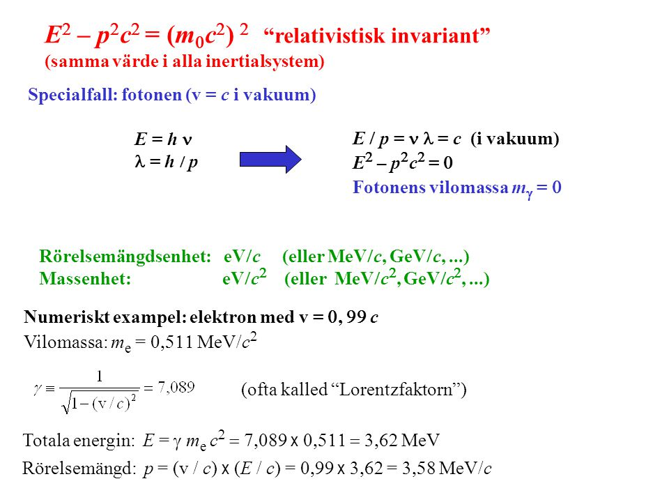 E2 – p2c2 = (m0c2) 2 relativistisk invariant