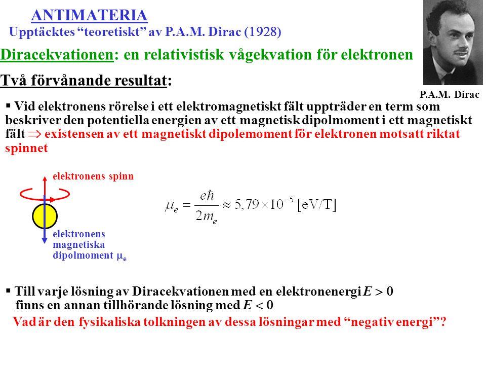 Diracekvationen: en relativistisk vågekvation för elektronen