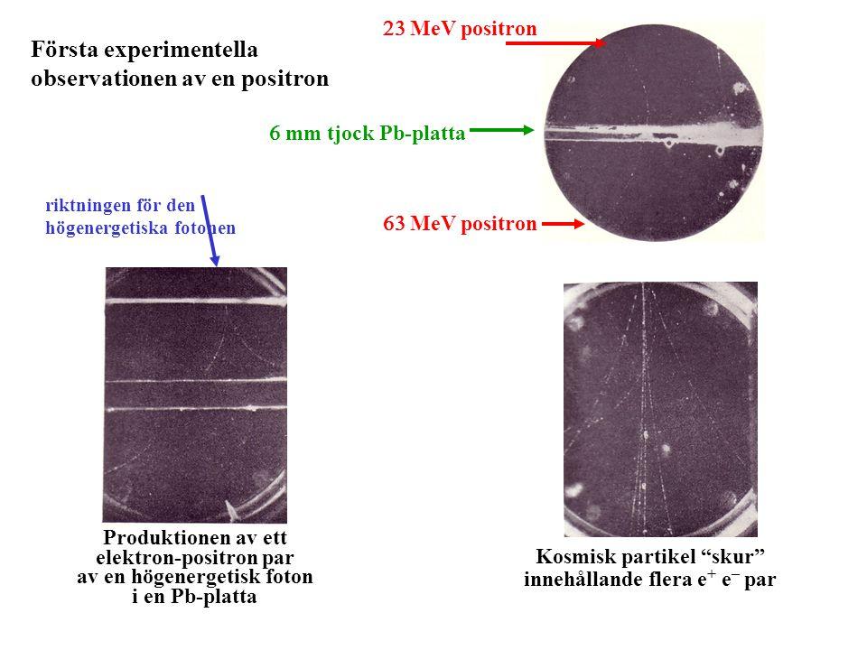 Första experimentella observationen av en positron