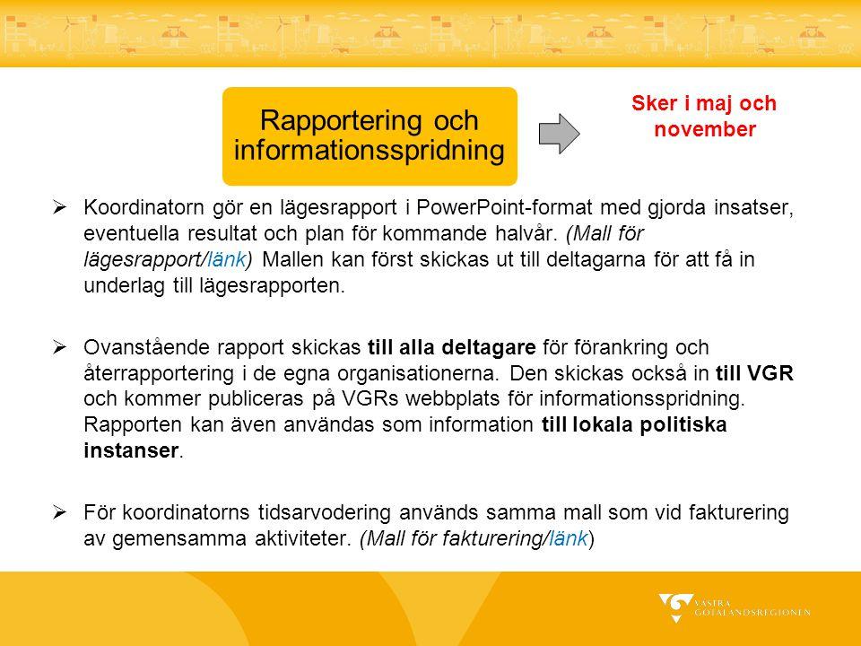 Rapportering och informationsspridning