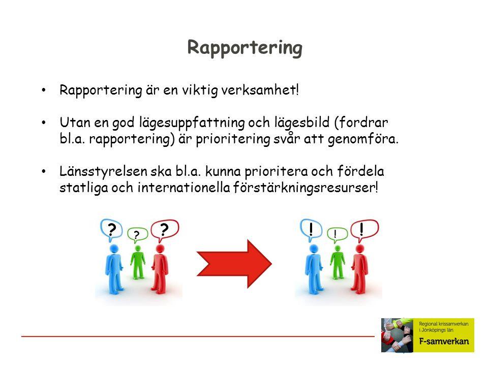 Rapportering ! Rapportering är en viktig verksamhet!