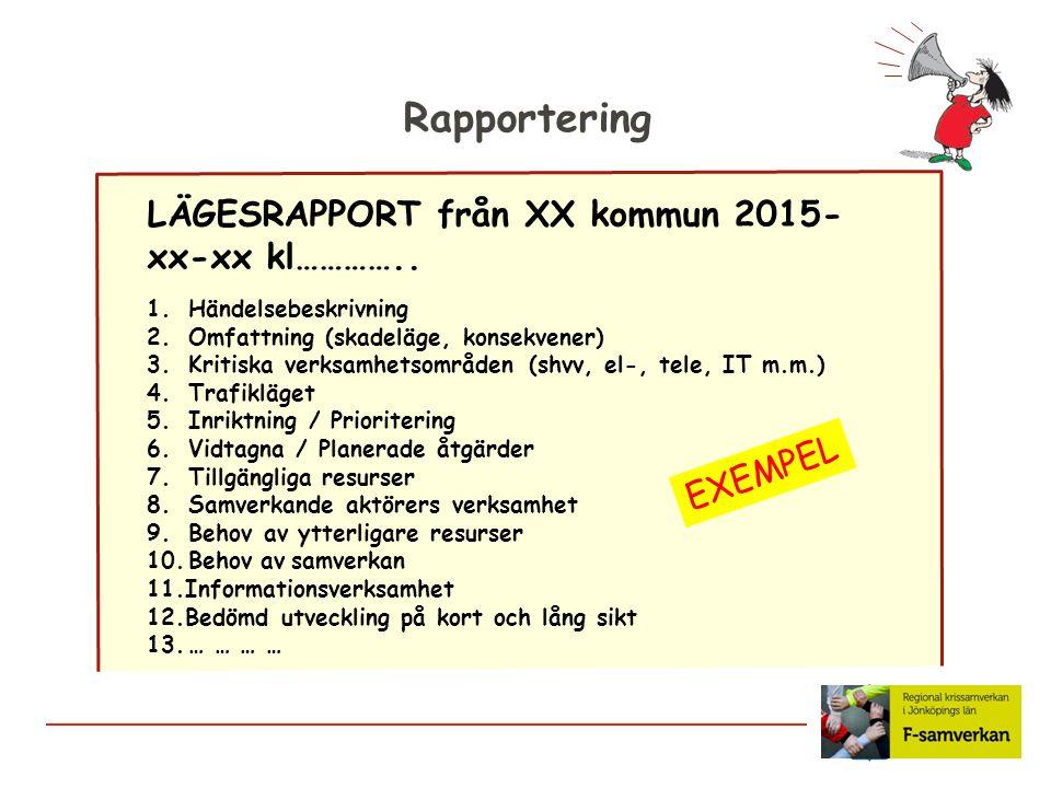 Rapportering LÄGESRAPPORT från XX kommun 2015-xx-xx kl………….. EXEMPEL