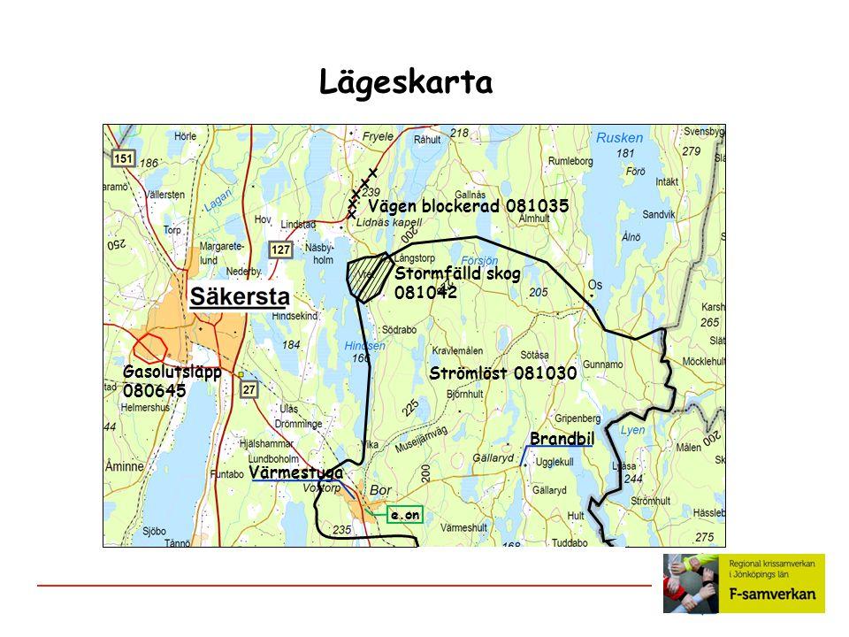 Lägeskarta x Vägen blockerad 081035 Stormfälld skog 081042