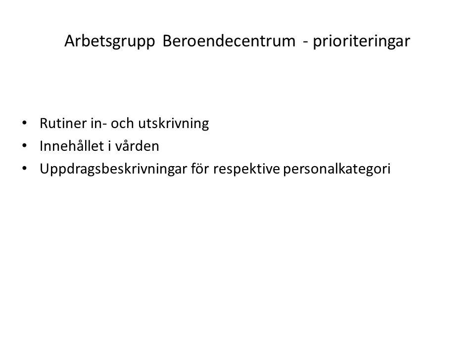 Arbetsgrupp Beroendecentrum - prioriteringar