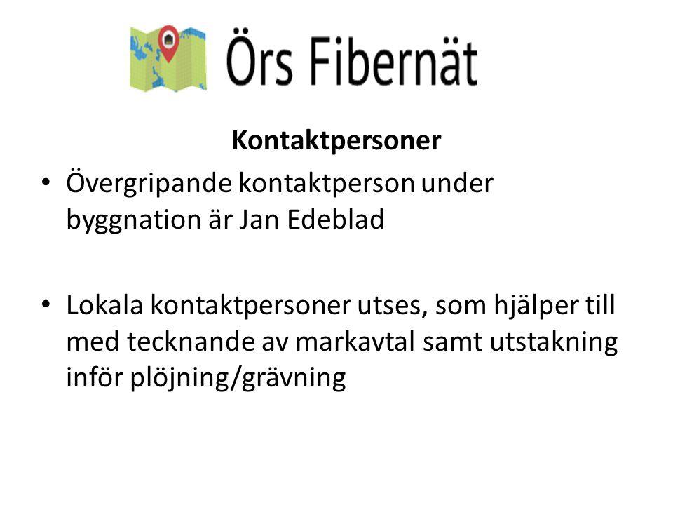 Kontaktpersoner Övergripande kontaktperson under byggnation är Jan Edeblad.
