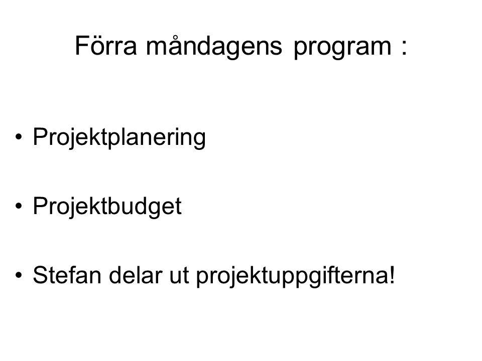 Förra måndagens program :