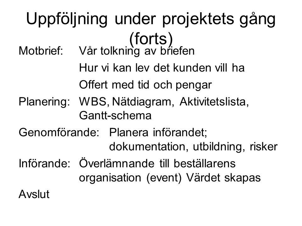 Uppföljning under projektets gång (forts)