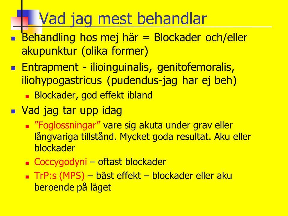 Vad jag mest behandlar Behandling hos mej här = Blockader och/eller akupunktur (olika former)