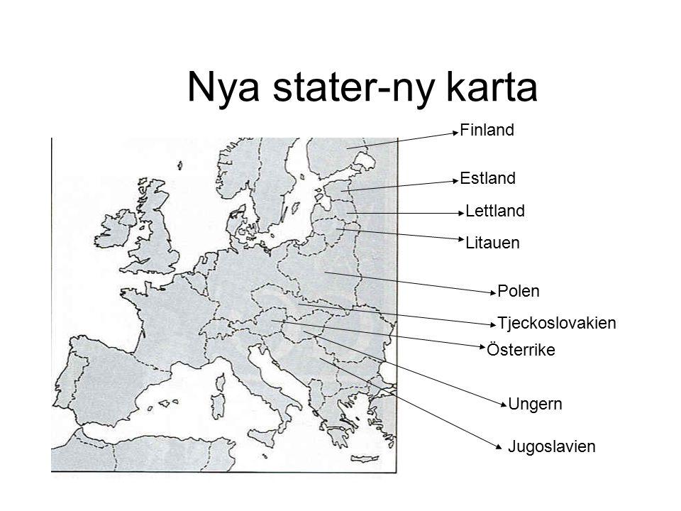 Nya stater-ny karta Finland Estland Lettland Litauen Polen