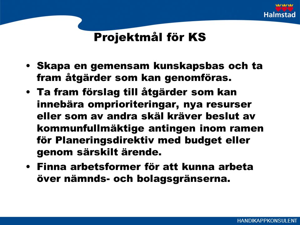 Projektmål för KS Skapa en gemensam kunskapsbas och ta fram åtgärder som kan genomföras.