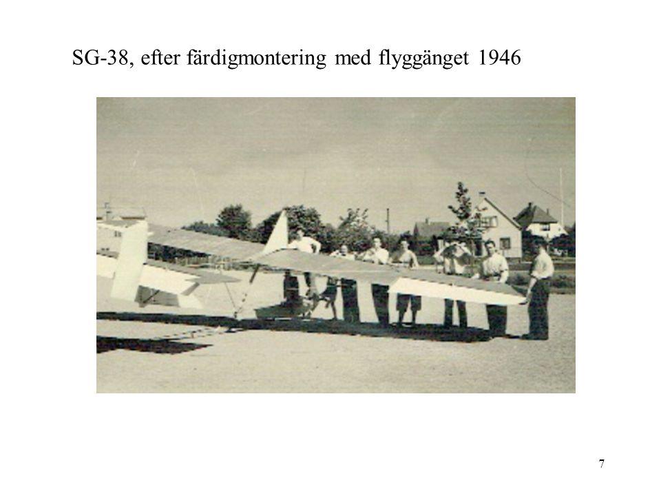 SG-38, efter färdigmontering med flyggänget 1946